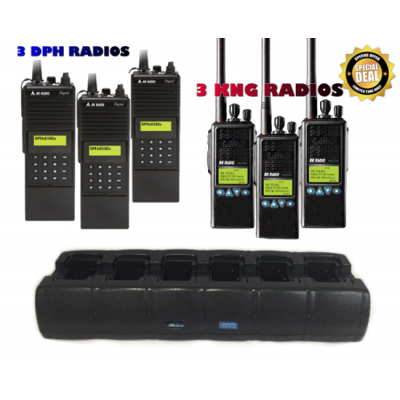 CHDKDT9R6B Rapid Rate Tri-Chemistry 6 Bay Gang Charger for 3 BK DPH Radios, and 3 BK KNG Radios