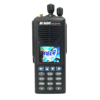 KNG2-P150, Digital APCO P25, VHF 136-174 MHZ, 5000 Channels, 6 Watt, Full Keypad - RELM BK Portable Radio, Front View